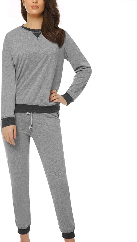 Suzicca Women's Sleepwear Long Sleeve and Draw String Pant Pajamas PJ Set Grey XX-Large