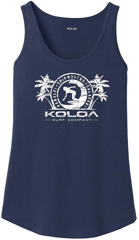 Joe's USA Koloa Surfer Girl Logo WomensTankTops in 27 Colors. Adult Sizes: S-4XL