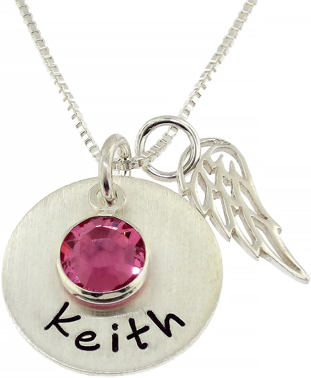 My Angel, My Love Personalized Necklace. Customize with the Name, Word or Date of Your Choice. Includes Swarovski Birthstone, 925 Angel Wings and Chain. Gifts for Her, Mother, Wife, Girlfriend