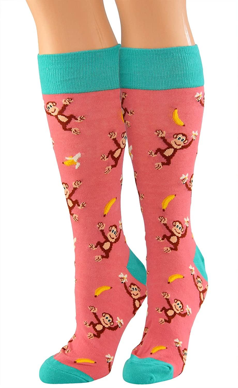 ARAD Happy Monkey Animal-Themed Fun Socks, Knee-High Novelty Stockings