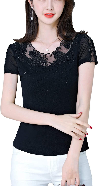 SUNERLADY Women's Elegant Lace Mesh Short Sleeve T-Shirt