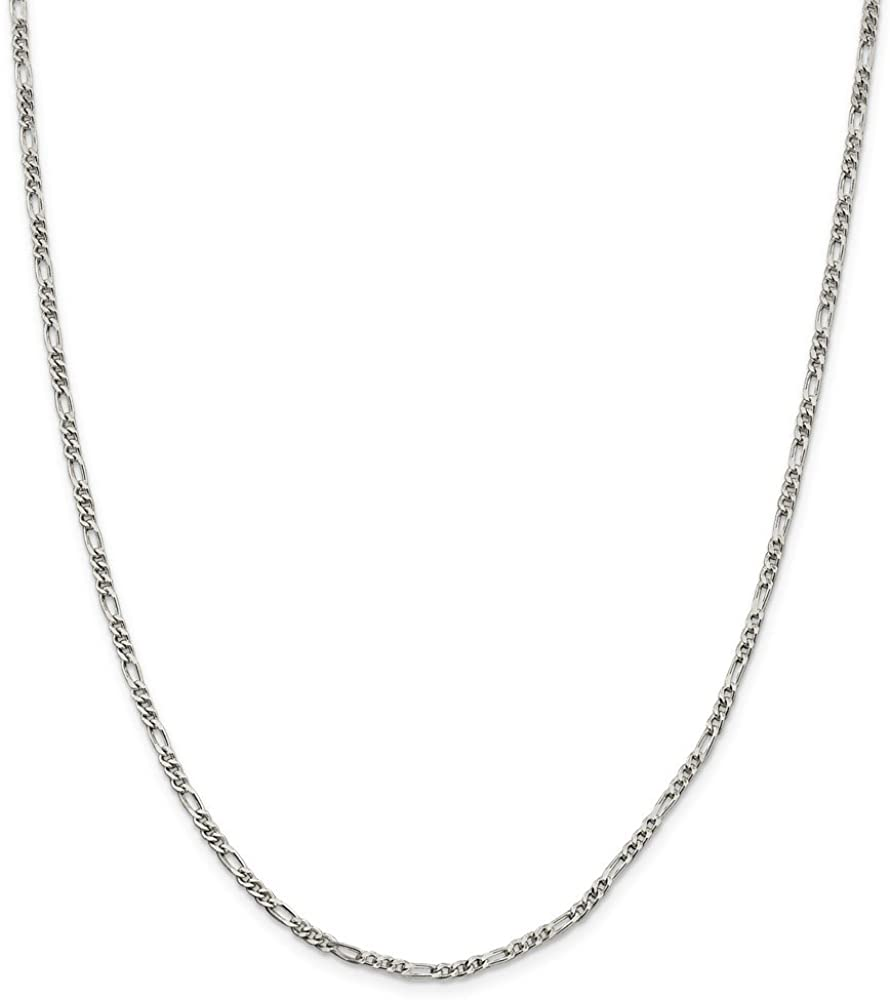 925 Sterling Silver 2.5mm Figaro Chain Necklace for Men Women