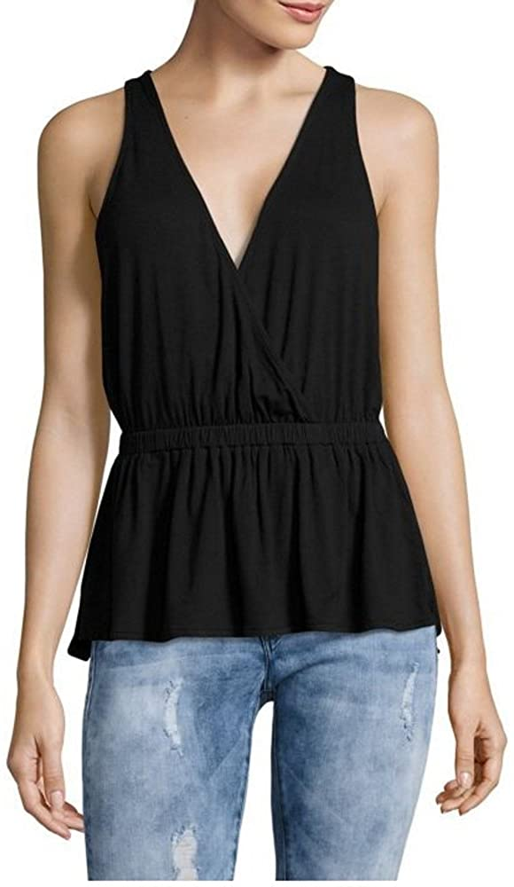 Free People Womens Heat Wave Surplice V-Neck Peplum Tank, Black, Small