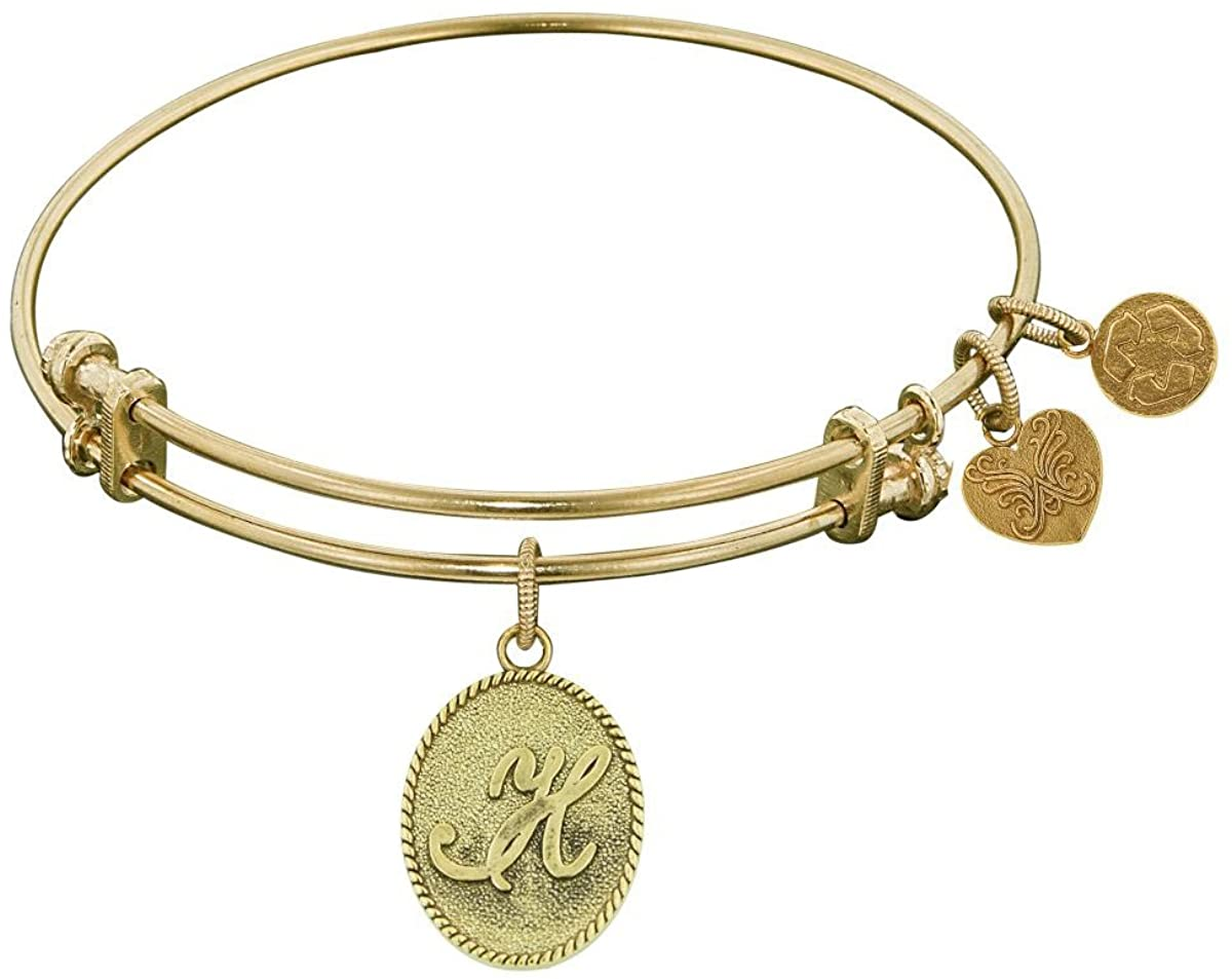 Jewelry Affairs Yellow Brass Initial Letter Angelica Bangle Bracelet, 7.25