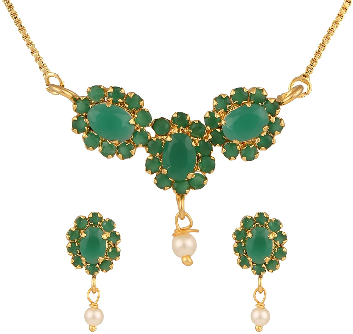 Efulgenz Gold Tone Indian Bollywood Ethnic American Diamond Traditional Pendant Necklace with Chain and Earrings Jewelry for Girls/Women