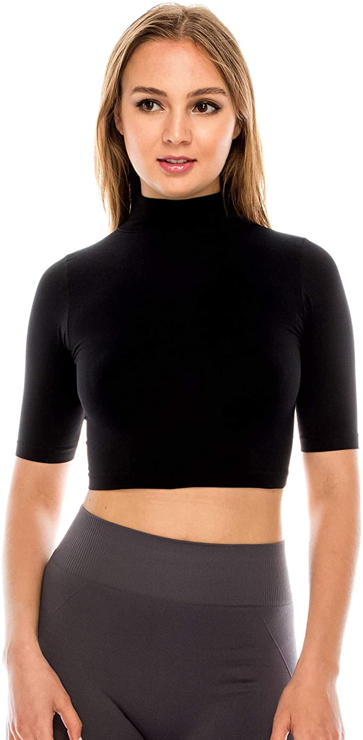 Kurve Women's Basic Crop Top – Mock Neck Elbow Length Sleeve Slim Fitted Ribbed Turtleneck Cropped T Shirt (Made in USA)