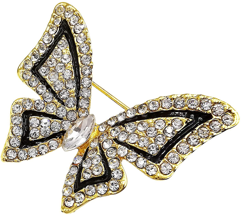 Bijoux De Ja Jewel Crystal Rhinestone Butterfly Wing Brooch Pin for Women