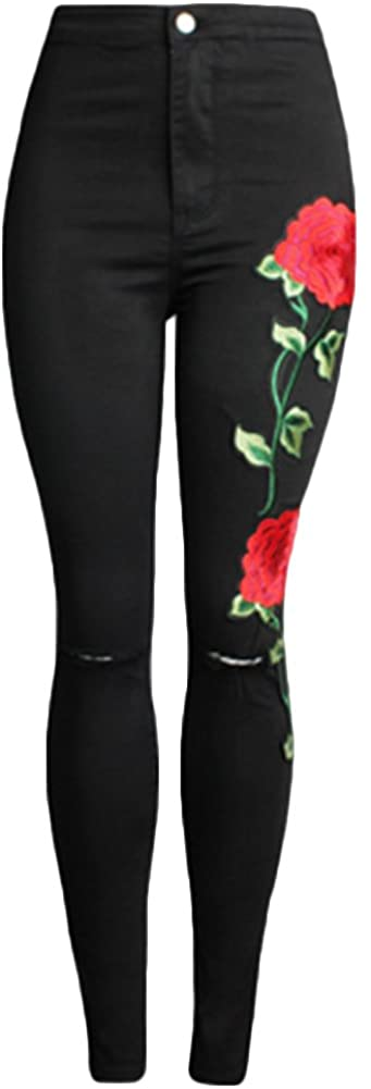 CHICFOR Womens High Waist Flower Embroidery Skinny Pencil Denim Jeans Pants