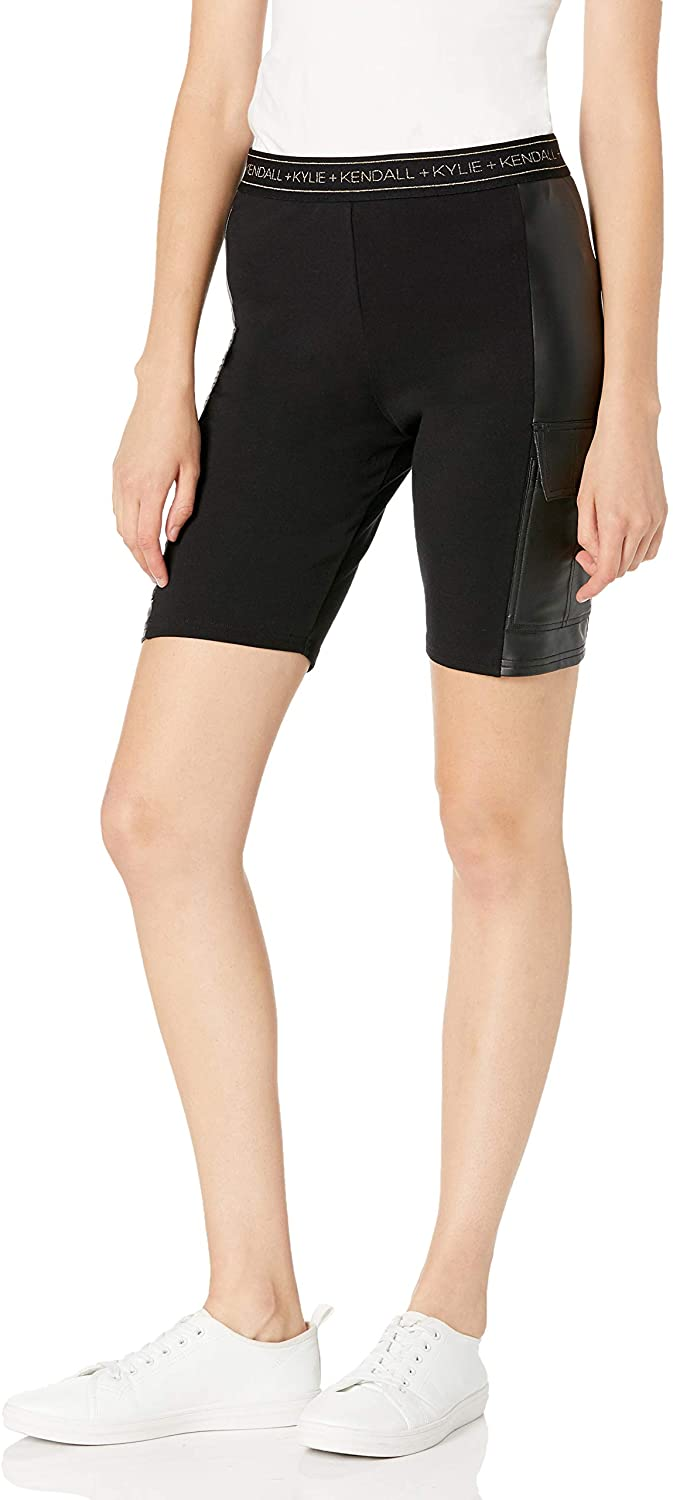 Kendall + Kylie Women's Ponte and Faux Leather Cargo Bike Shorts