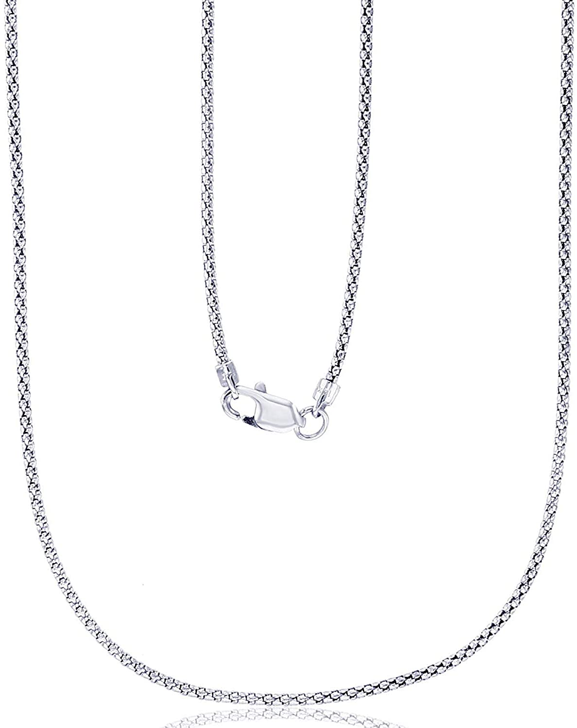 14K Yellow or White Gold Solid 1.30mm Popcorn Chain with Lobster Claw Clasp | Italian Gold Necklaces | Gold Popcorn Necklaces for Men and Women