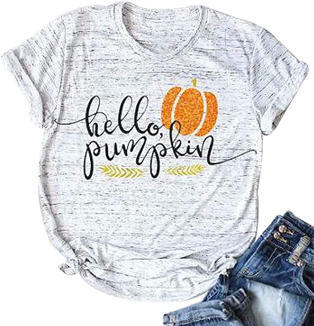 Halloween Pumpkin Shirt Women Funny Cute Pumpkin Graphic Tee Letter Print Fall Short Sleeve Casual Tops Tee