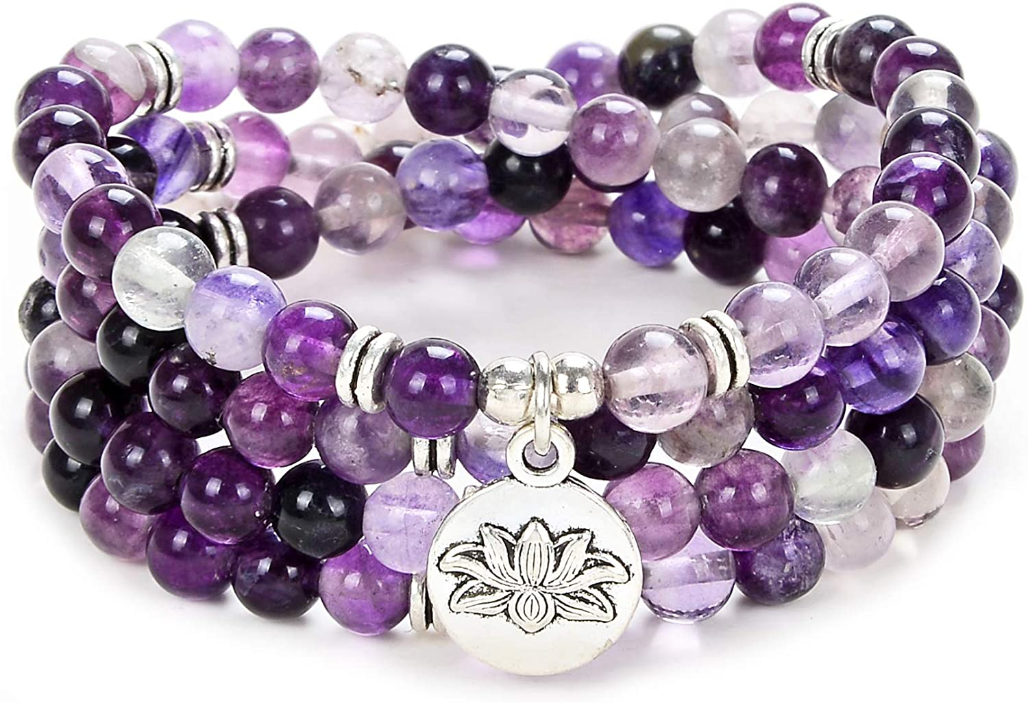 Self-Discovery 108 Bead Mala Bracelet with Lotus Charm and 6mm Small Stone Beads