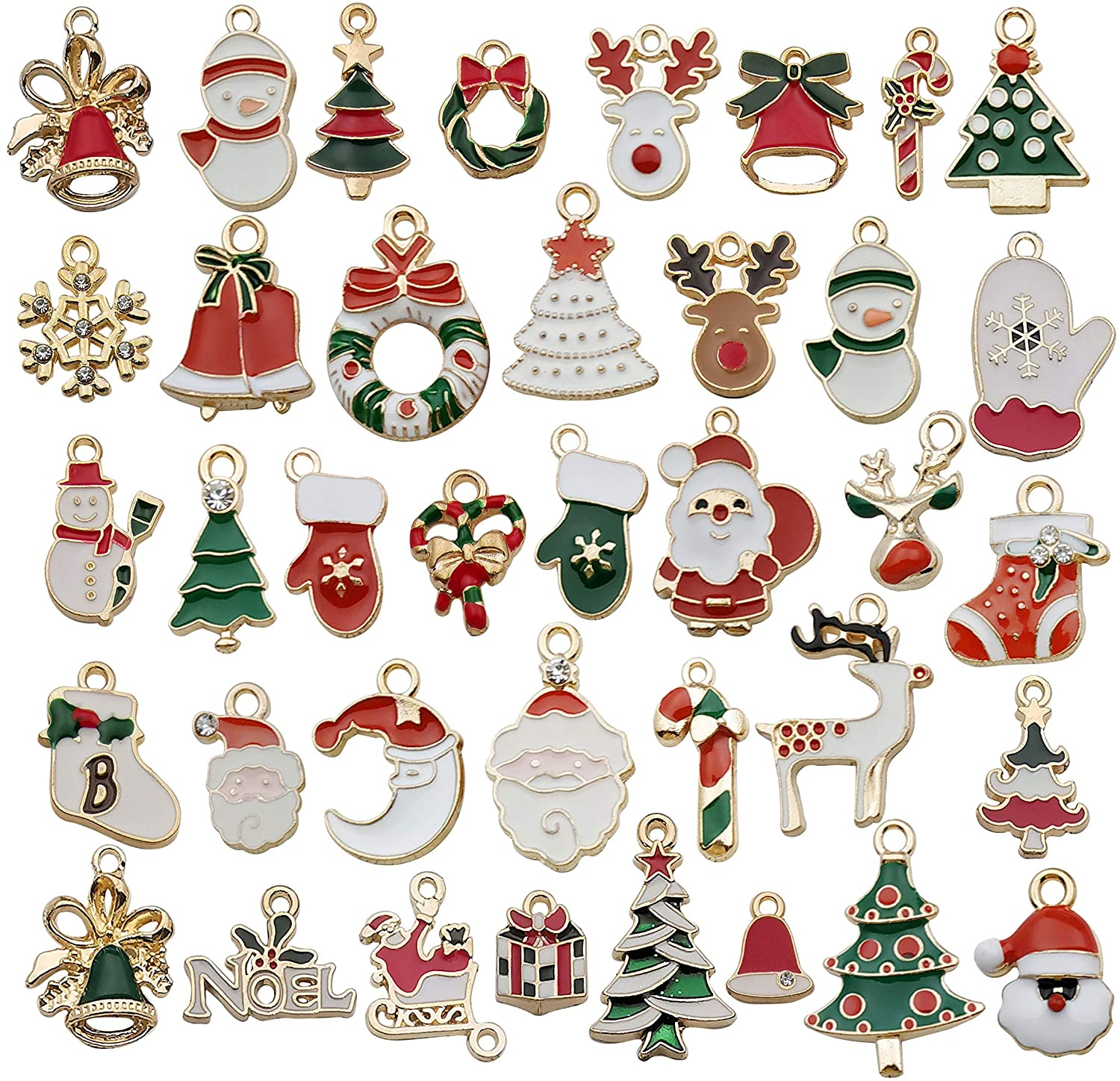 38 Pcs Gold Enamel Christmas Charms for DIY Jewelry Making Necklace Bracelet Earring DIY Christmas Clothes Sewing Bags Decoration Charms (M457)