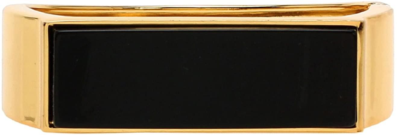 Lova Jewelry Evening Solid Black Gold Tone Metal Clasp Statement Bangle Bracelet