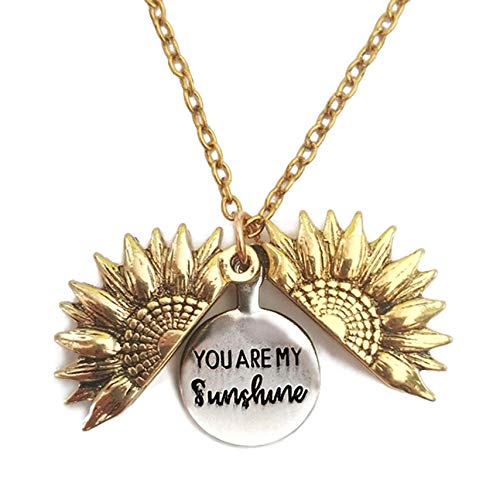 Shegirl Sunflower Necklace You Are My Sunshine Engraved Locket Necklace Delicate Gold Pendant Necklace Jewelry for Women and Girls Gift (Gold)