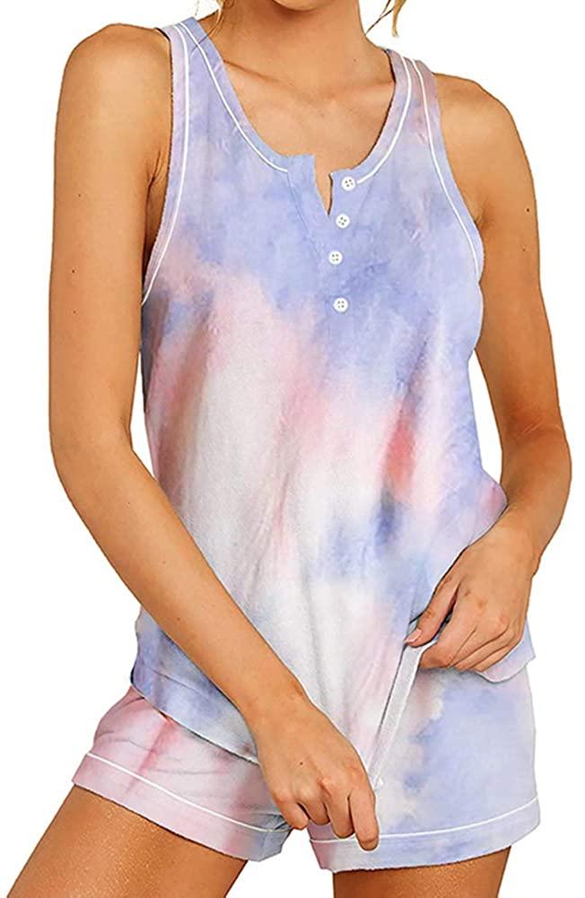 IyMoo Women's Pajamas Set Tie Dye Printed Tank Tops Shorts Nightwear Loungewear