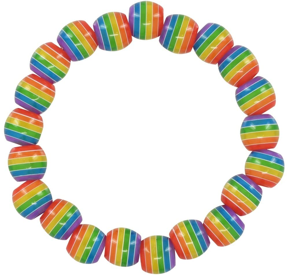 Gay Pride Rainbow Striped Beaded Bracelets (10 Bracelets - Individually Bagged)