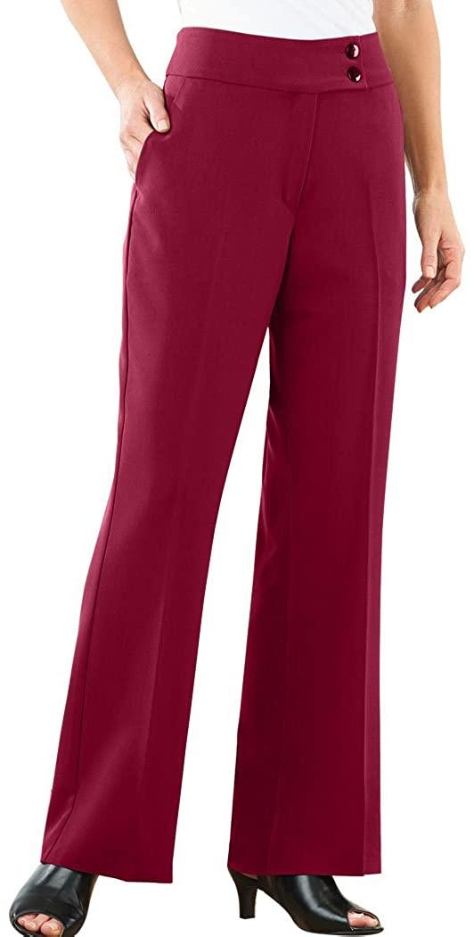 AmeriMark Women's Wide Leg Pleated Trousers Button Waistband Zip Closure