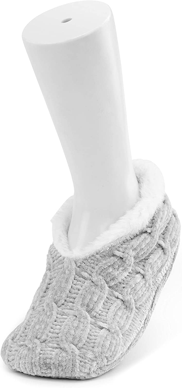 Chenille Sherpa Lined Soft Grey Women's Medium Polyester Fabric Slippers