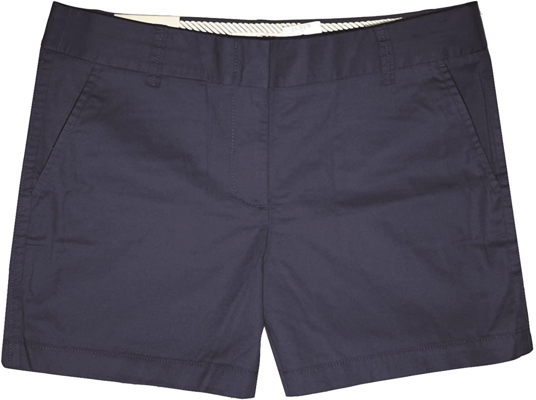 J. Crew Factory - Womens - Solid 5 Inseam Solid 100% Cotton Chino Shorts (4, Dark Navy)