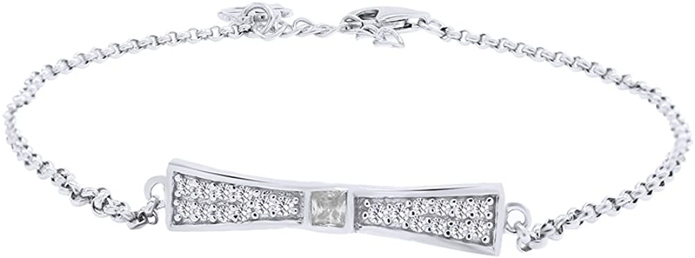 Wishrocks Christmas Holiday Sale Round Cut White Cubic Zirconia Tie Bracelet 925 Sterling Silver