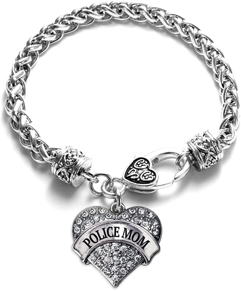 Inspired Silver - Silver Pave Heart Charm Bracelet with Cubic Zirconia Jewelry