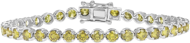 7 cttw 14K White Gold Yellow Diamond Tennis Bracelet