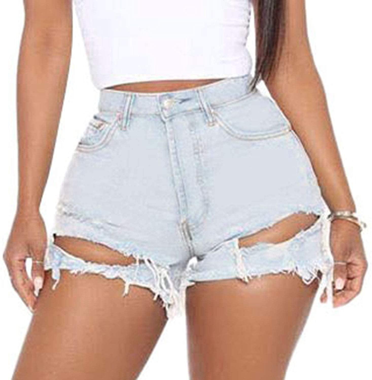 CutieLove Women's Denim Jean Shorts Distressed Hem Ripped Mid Rise Stretchy Denim Shorts