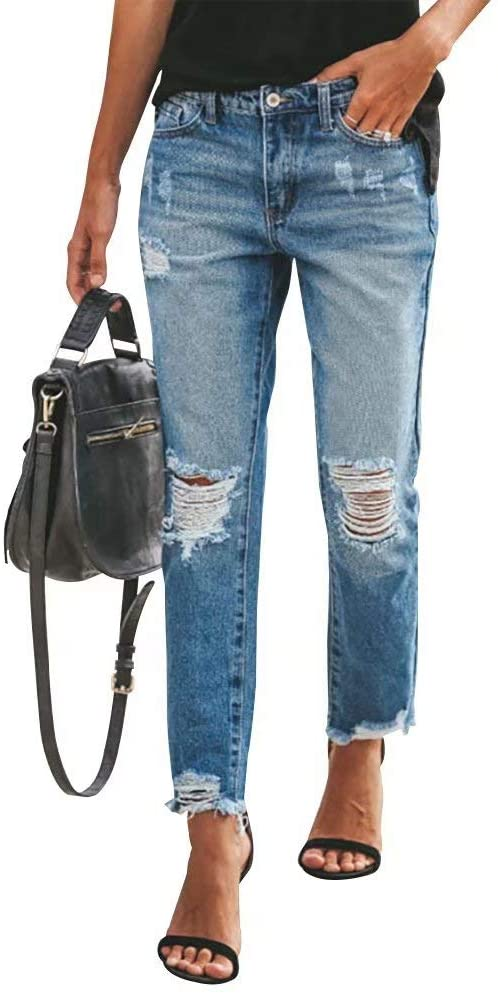 Women Casual Ripped Jeans Classic Distressed Mid Waist Relax-Fit Denim Pants Washed Stretchy Bootcut Jeans