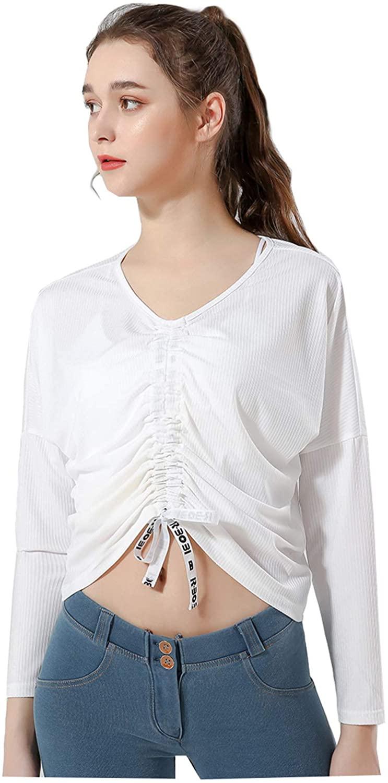 Women's Yoga Shirt Loose Long Sleeve Blouse Casual Drawstring T Shirts Crop Top