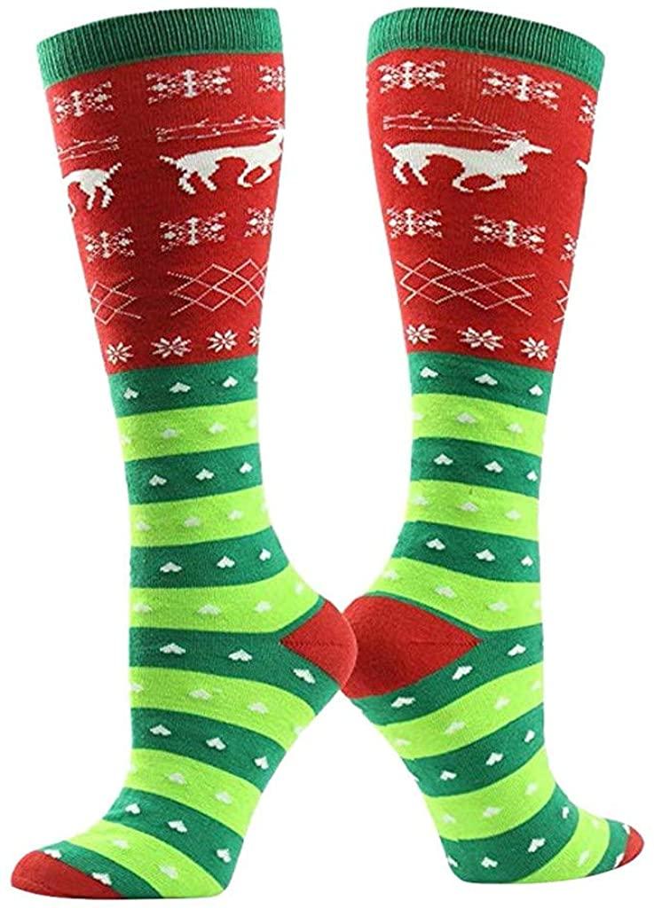 Womens Over The Knee Long Horizontal Stripe Christmas Funny 3D Fashion Printed