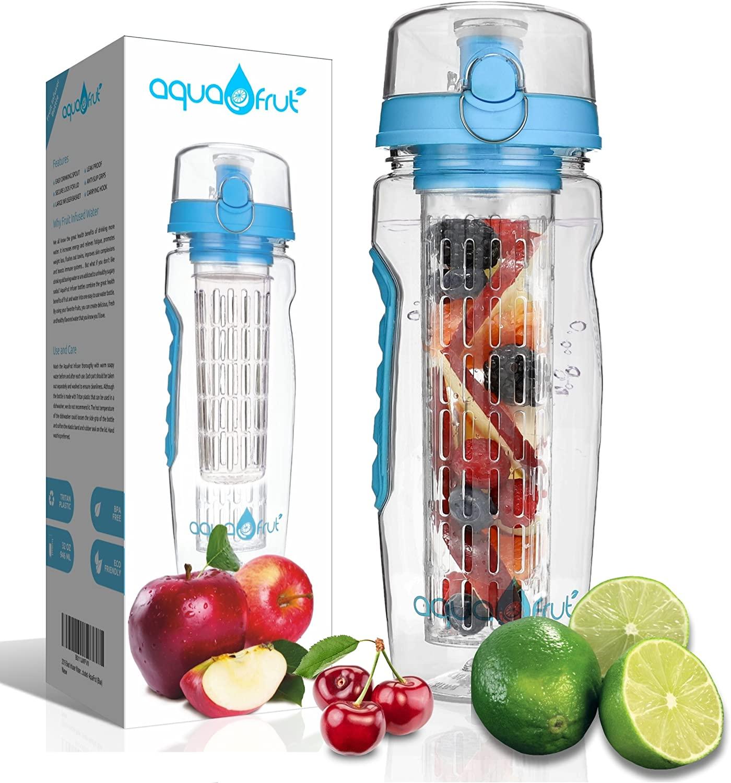AquaFrut 32 OZ Fruit Infuser Water Bottle BPA-Free Fruit Infusion Sports Bottle - Flip Top Lid w Drinking Spout, Leak Proof, Made of Durable Tritan. Free Recipe eBook! (Blue)