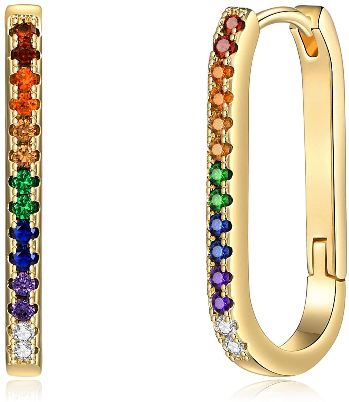Gold Huggie Hoop Earrings for Women, Hypoallergenic S925 Sterling Silver Post 14K Gold Plated Sunburst Drop Spike Butterfly Star Turquoise Dangle Small CZ Huggie Hoop Earrings Jewelry Gifts for Women