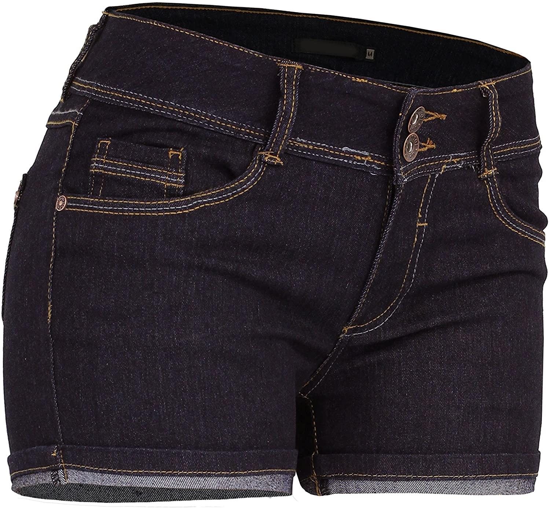 BEKTOME Womens Classic Dark Wash Denim Cuffed Midi Shorts with Stretch