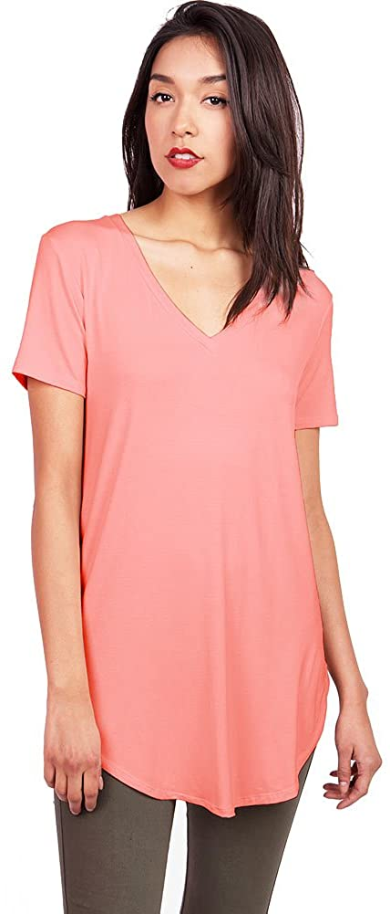 Pink Ice Women's Oversize Stretchy V-Neck Tee (Large, Coral)
