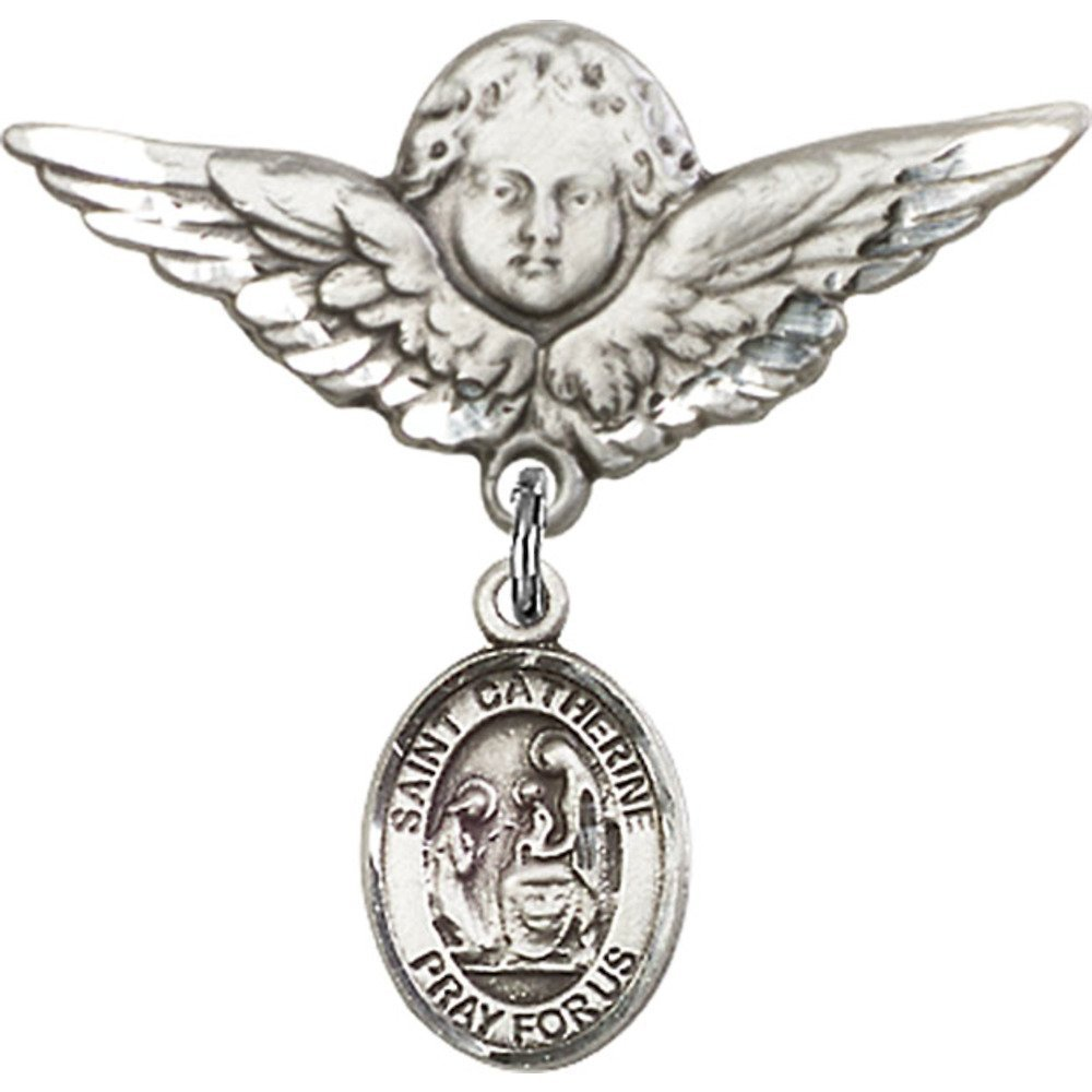 Sterling Silver Baby Badge with St. Catherine of Siena Charm and Angel w/Wings Badge Pin 1 1/8 X 1 1/8 inches
