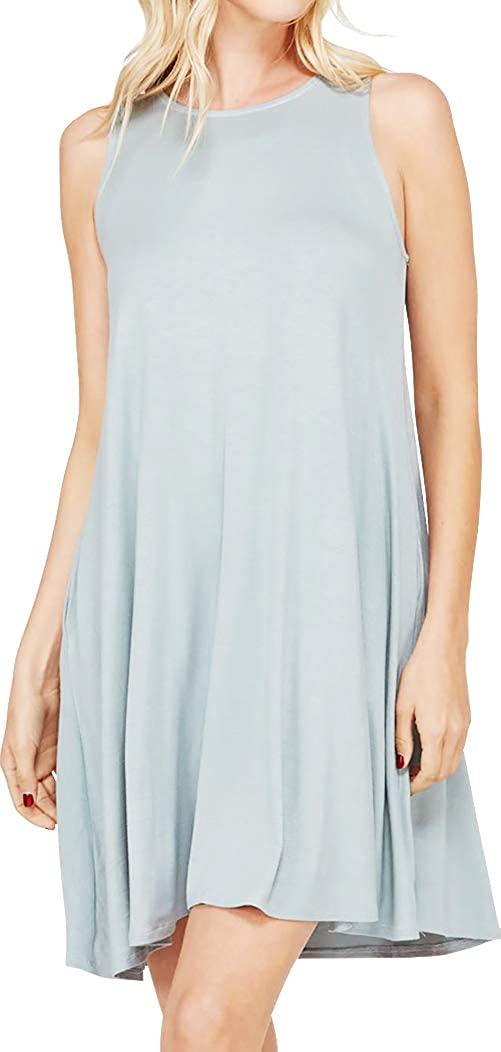 Cambridge Select Women's Sleeveless Pockets Loose Swing Tunic Mini Dress