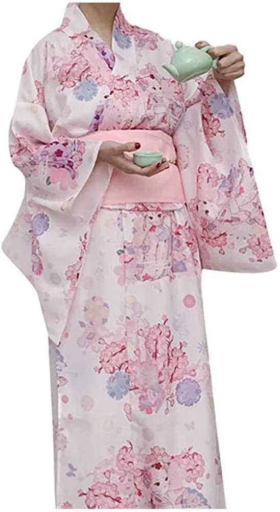 HongH Women's Tradtional Japanese Yukata Kimono Flower Print Long Kimono Robe Costume Summer Wear