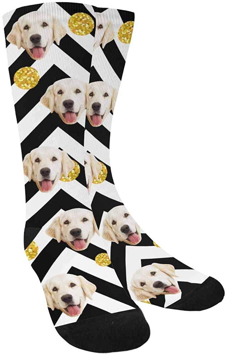 Custom Print Your Face Socks, Turn Your Photo into Chevron Gold Polka Dot Crew Socks for Men Women