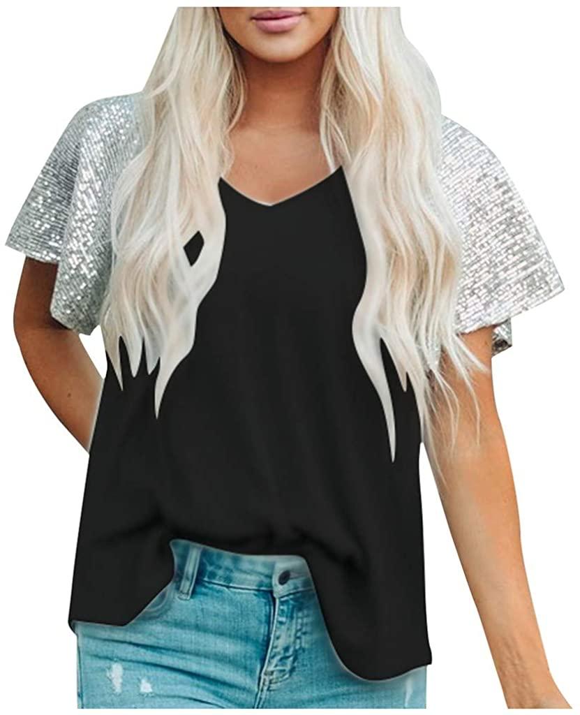 Fashion Women's Casual Short Sleeve T Shirts V Neck Sequin Tunic Elegant Tops