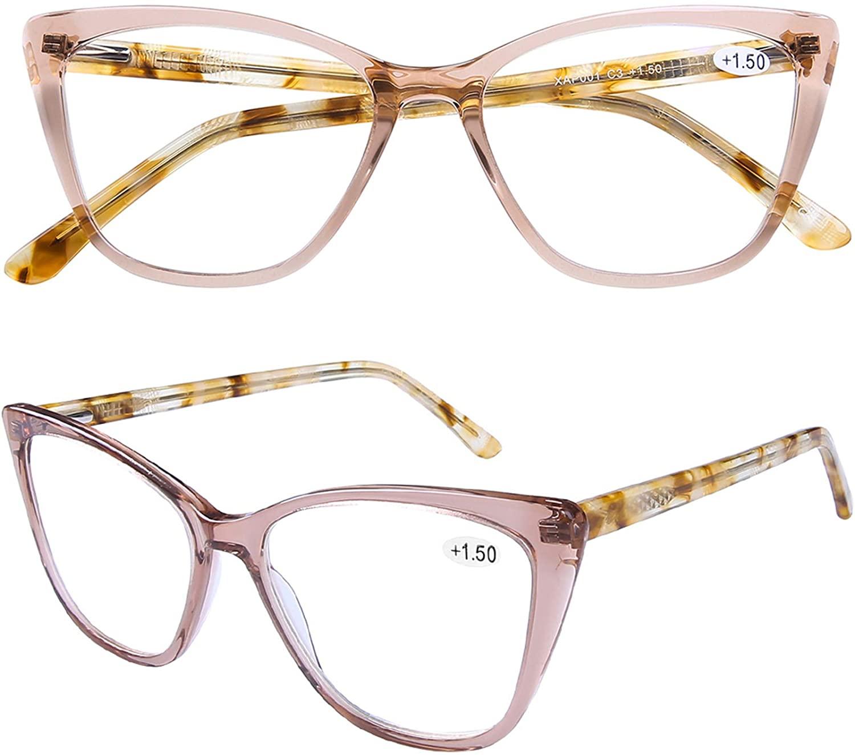 Stylish Cat Eye Computer Reading Glasses Designer Blue Light Block Eyeglasses Readers Anti UV400 Digital Eyestrain with Sping Hinge for Women,Champagne 3.5
