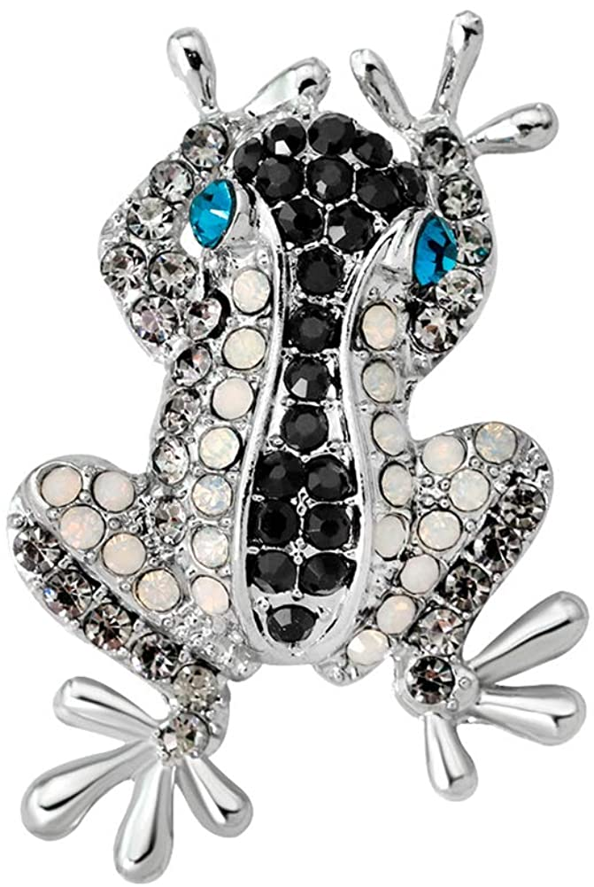 Brooch Pins for Women, Fashion Frog Rhinestone Inlaid Brooch Pin Clothes Decoration Jewelry Gift - AG154-A