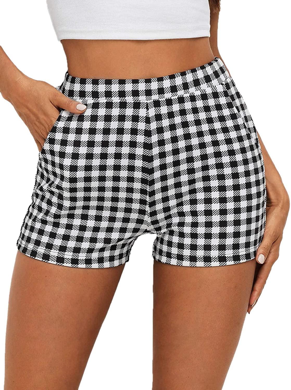 SheIn Women's Casual Elastic Waist Pocket Gingham Shorts