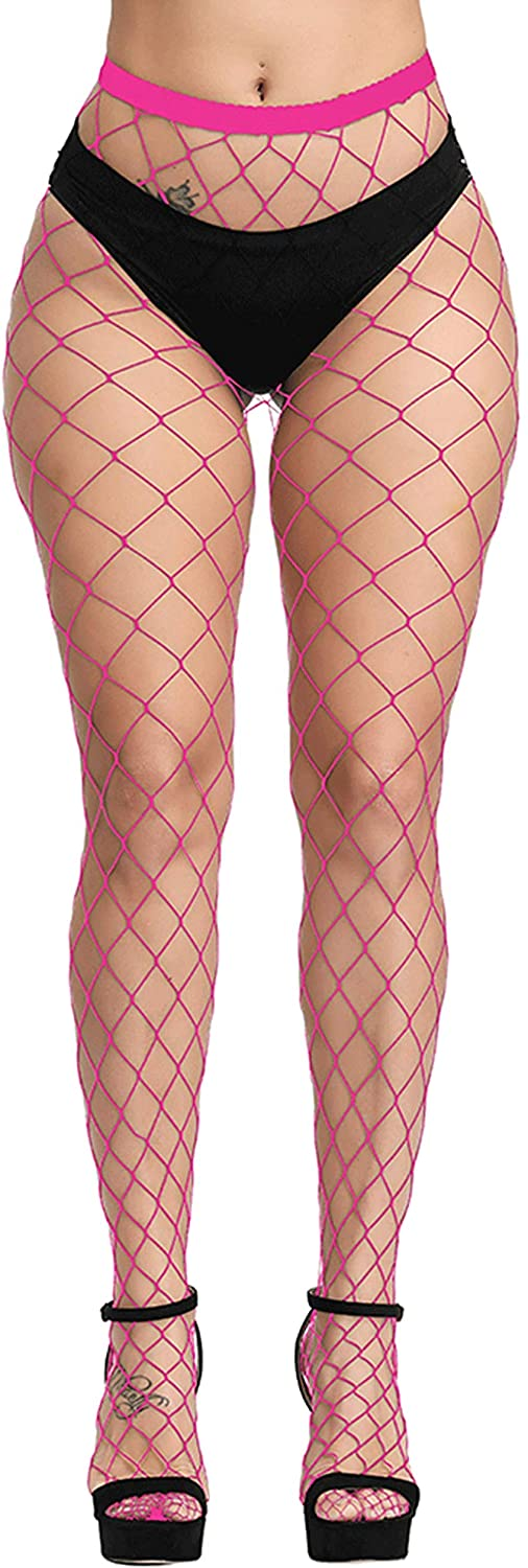 Pareberry Women's High Waisted Fishnet Tights Sexy Wide Mesh Fishnet Stockings