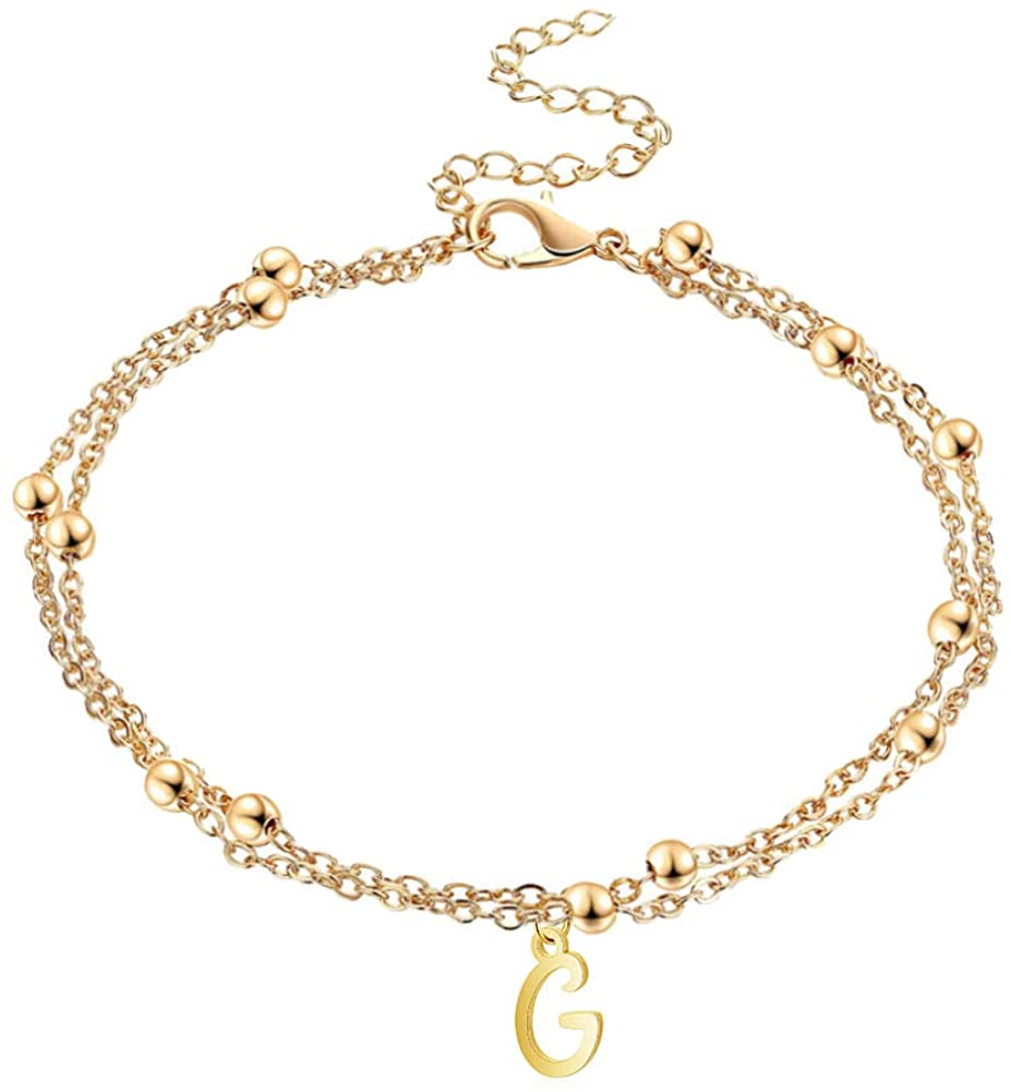 JczR.Y Alphabet Letter Anklet Bracelet Double Layer Bead Chain Initial Letter Anklet Charm Adjustable for Women Teen Beach Party Friendship Jewelry Gift