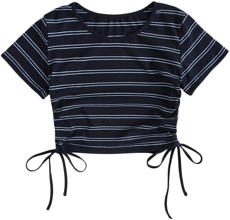 SheIn Women's Round Neck Short Sleeve Striped T-Shirt Drawstring Crop Tee Top