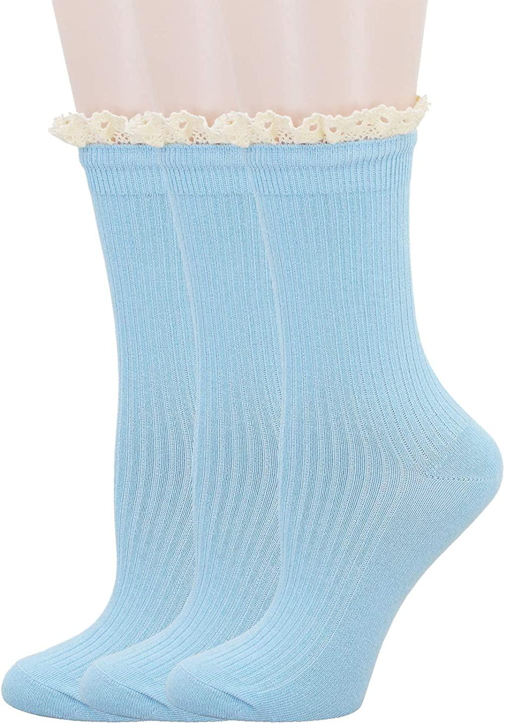 SRYL Womens Ankle Socks,Turn-Cuff Socks Women's Lace Ruffle Frilly Cotton Socks