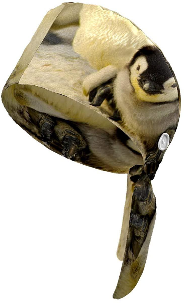 Jemis Penguin Baby Antarctic Cute Working Cap with Button Cotton Sweatband Adjustable Tie Back Hats Bouffant Hats Headwear for Women Men One Size