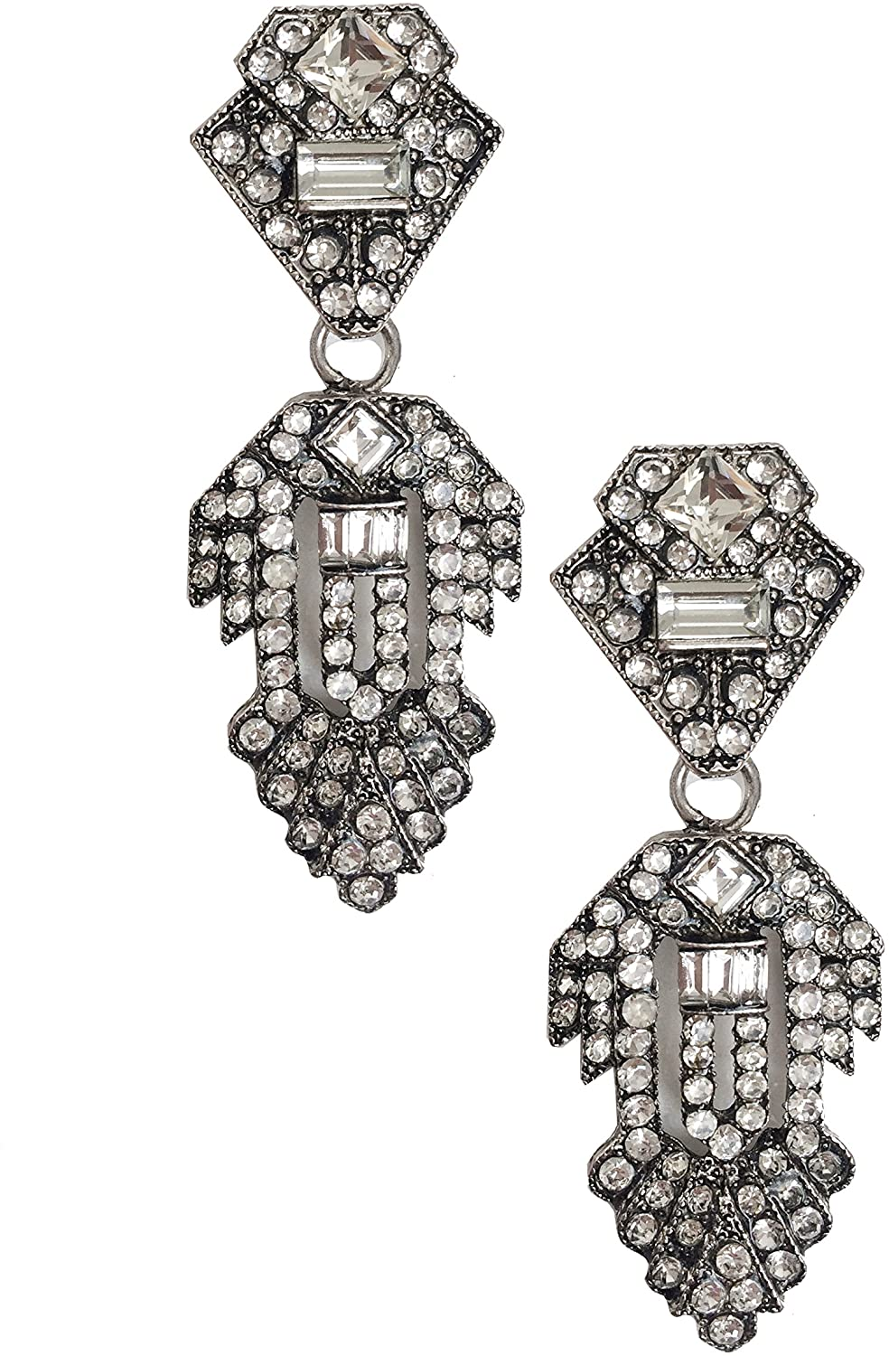 Large Classic Art Deco Flapper Style Statement Wedding Bridal Prom Formal Gatsby Party Rhinestone Earrings