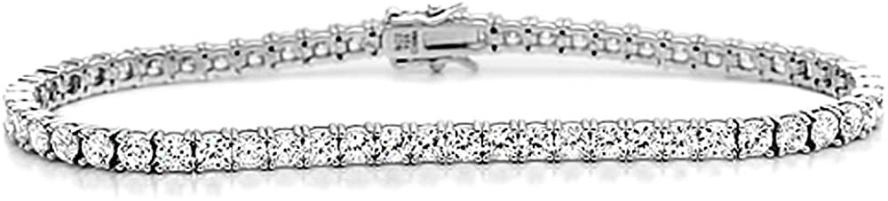 Sterling Silver Bracelet Cubic Zirconia Round Cut CZ Stone Tennis Bracelet